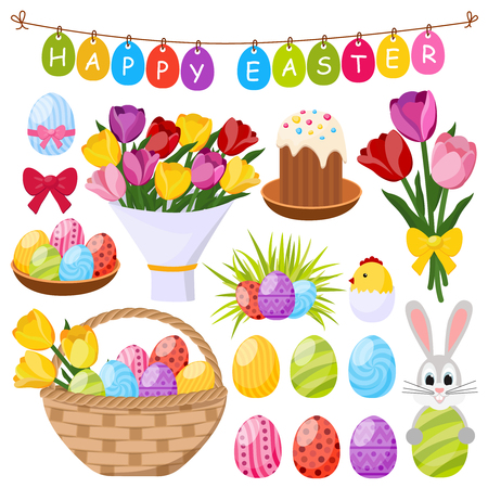 Easter Day Decorative Icons Set Illustration