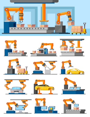 automated: Industrial Automated Manufacturing Concept