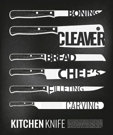 Monochrome Kitchen Knives Scheme Set