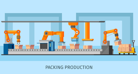 Industrial Packing System Process Template Stock Photo
