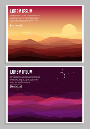 horizontal: Desert Landscape Horizontal Banners Illustration