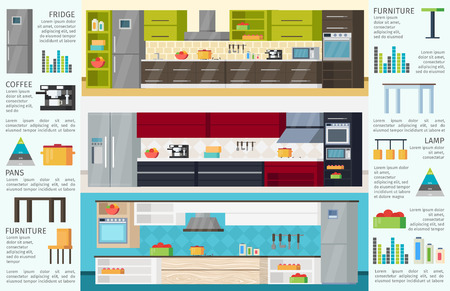 modern kitchen: Modern Kitchen Interior Infographic Template Illustration