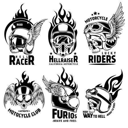fiery: Fiery Motorcycle Skull Helmet Logos Set Illustration