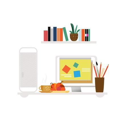 Freelancer Workspace Flat Concept