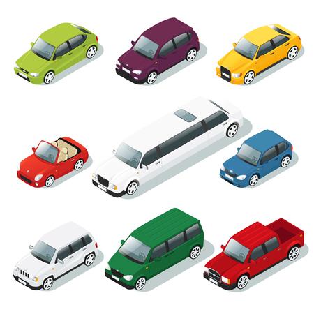 Iconos isométricos de coches conjunto