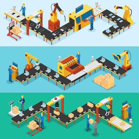Izometryczne przemysłowe fabryki poziome banery