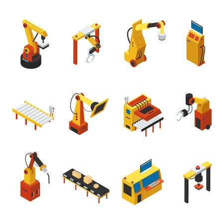 automated: Isometric Automated Machines Set Illustration