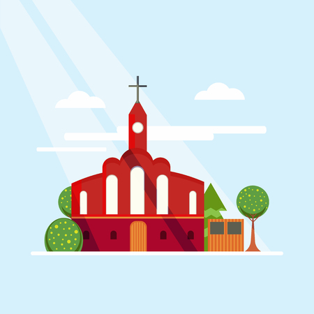 Flat Colorful Church Concept Stock Photo