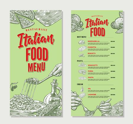ビンテージ イタリア料理レストランのメニュー テンプレート