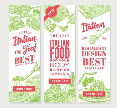 ビンテージ イタリア料理垂直バナー