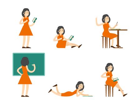 Flat Studying Woman Set