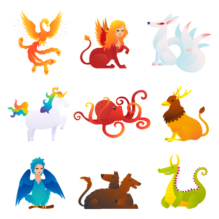Mythical And Fantastic Creatures Set Vettoriali