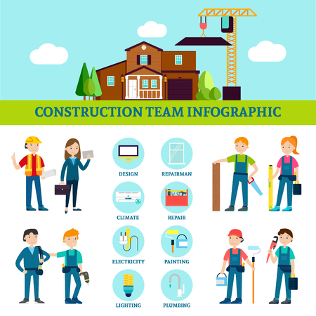 Construction Team Infographic Template Illustration