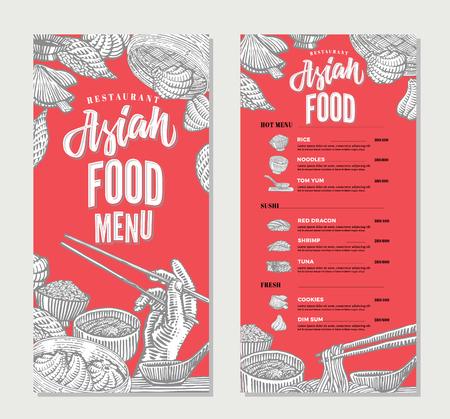 dim: Asian Food Restaurant Menu Sketch Template.