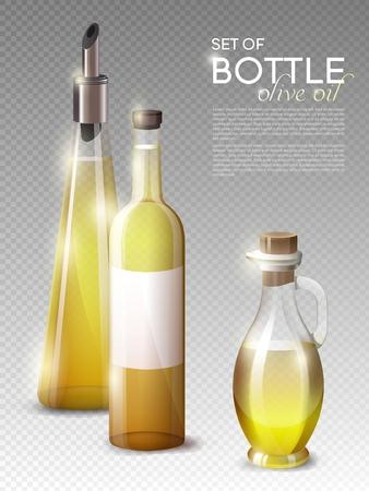 bung: Realistic Olive Oil Bottles Set