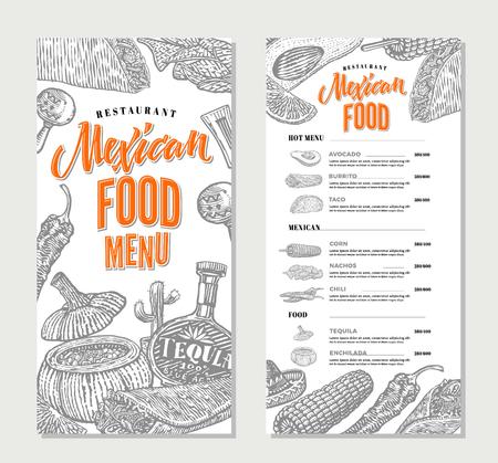 enchilada: Mexican Food Restaurant Menu Template Illustration