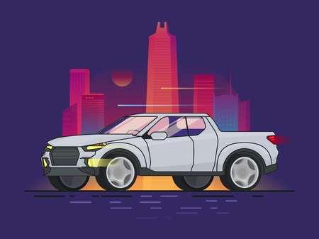 Modern pickup truck motion design concept with bright glowing night cityscape in flat style vector illustration