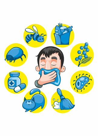 Colección de dibujos animados colorida alergia sobre fondo blanco Foto de archivo - 73957389