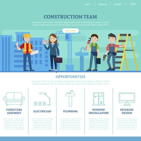 Construction Team Web Page Template 向量圖像