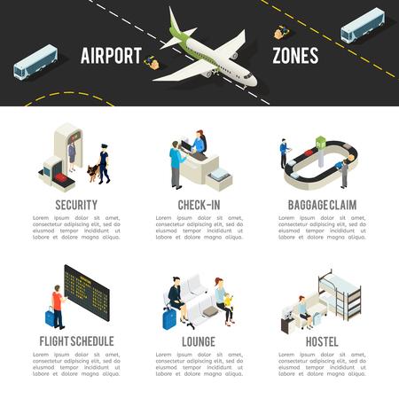 Modèle de zones d'aéroport isométrique Banque d'images - 74228228