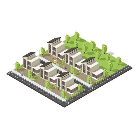Concept complexe isométrique de bâtiments suburbains.
