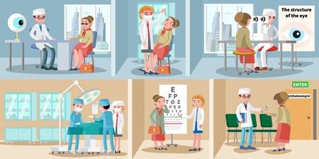 Healthcare ophthalmology horizontal banners. Illustration