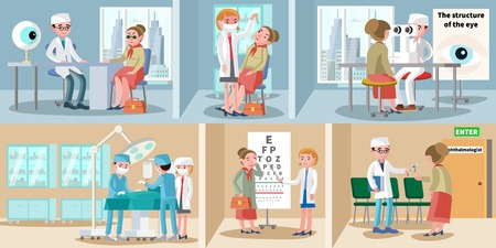 Healthcare ophthalmology horizontal banners. Vettoriali