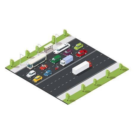 Isometric urban traffic template. Illustration