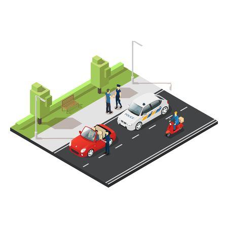 Colorful isometric traffic concept. Illustration