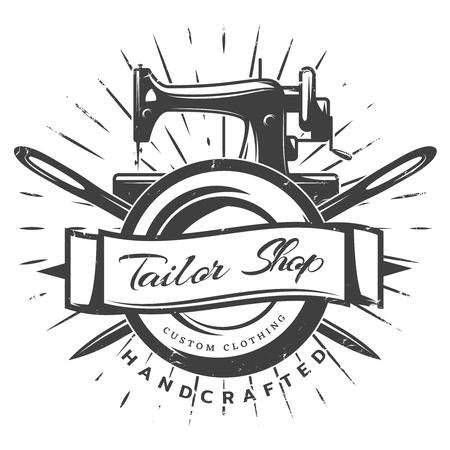 Vintage zwarte kleermaker labelsjabloon Vector Illustratie