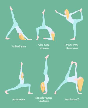 Flexible Blonde Woman Yoga Set