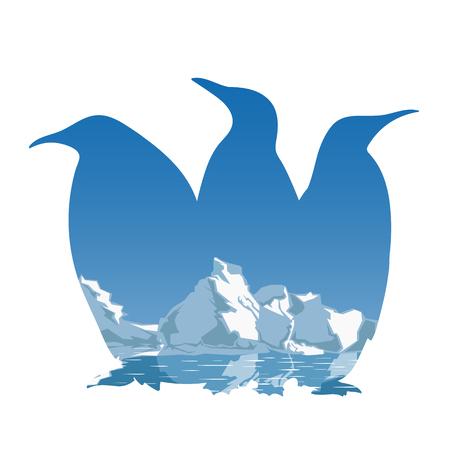 3 ペンギン シルエット コンセプト  イラスト・ベクター素材