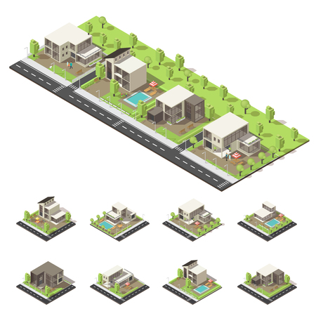 Isometric Suburban Buildings Composition Illustration