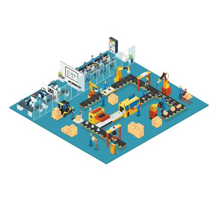 Isometrische Industriële Fabrieksconcept