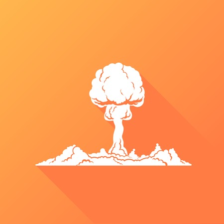 Nuclear Explosion White Silhouette Concept