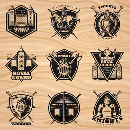 Black Vintage Knights Emblems Set Ilustrace
