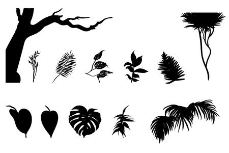 jungle plants: Black Jungle Plants Silhouettes Set