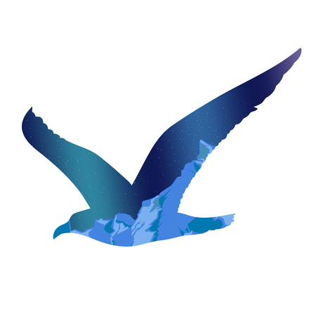 Flying Seagull Silhouette Concept Illustration