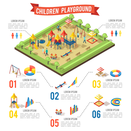 Isometric playground infographic concept with family children swing bench slide carousel sandbox and diagrams vector illustration Illustration
