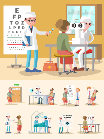Medical treatment ophthalmology composition with consultation eye signt test diagnostic optical correction surgery procedures vector illustration