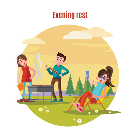 Colorful outdoor recreation concept with couple preparing barbecue and woman drinking cocktail on forest landscape vector illustration