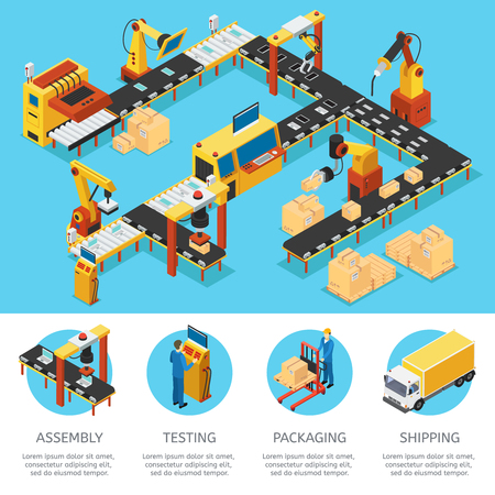 Isometric industrial factory composition with automated production assembly packaging processes and robotic machinery vector illustration