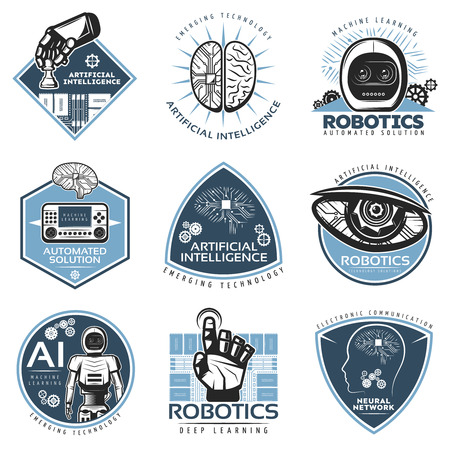 Colorful futuristic innovations labels collection with robotic cybernetic artificial intelligence technologies in vintage style isolated vector illustration Vetores