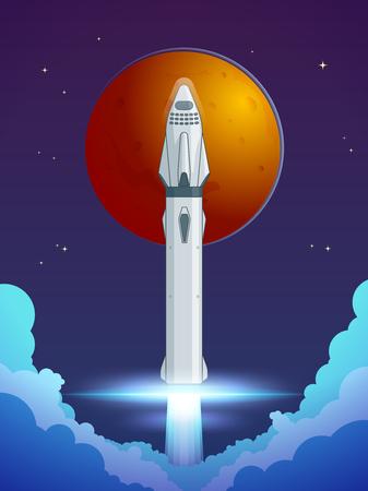 Colorful Cartoon Rocket Launch Concept