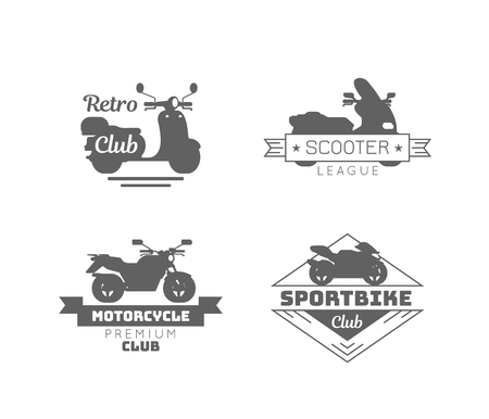 Black motorcycle logotypes set with inscriptions and different types of motorbikes isolated vector illustration