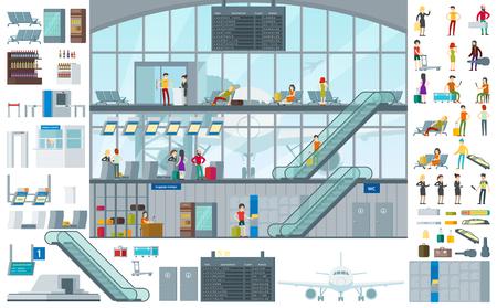 Vlak infographic infographic malplaatje met passagiers in verschillende situatiesbagage en eindelementen vectorillustratie