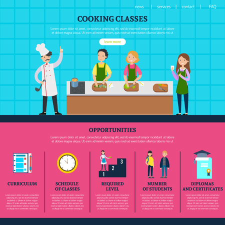 Colorful Cooking Classes Web Page Template