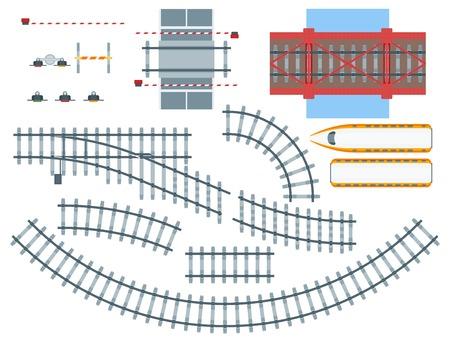 Lments de chemin de fer plat fixés avec des voies ferrées de différentes voies de la circulation des voies de la silhouette de la voiture isolé illustration vectorielle Banque d'images - 75226668