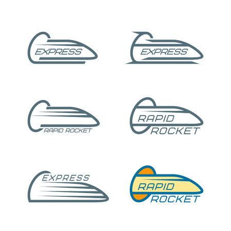Train logotypes set with express and rapid rocket inscriptions on white background isolated vector illustration Illustration