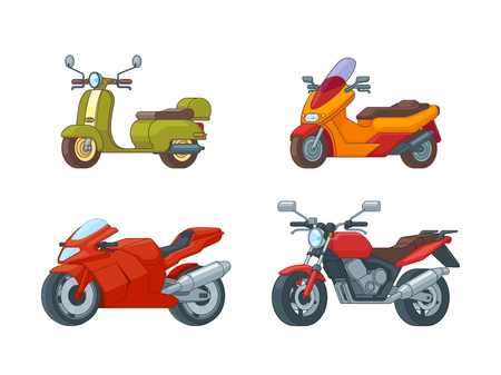 Colorful motorcycles collection with scooter moped sport and classic motorbikes types on white background isolated vector illustration